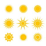 Sun or star cartoon vector icons set for emoji or emoticons elements in smartphone video or messenger chat application vector illustration