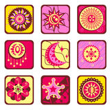Sun and star design elements. Set of sun and star design elements Stock Images