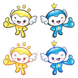 Sun and Star Mascot the hand best gesture. Nature Character Desi Stock Photography