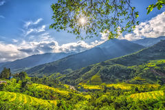 Sun star plateau early in Sapa, Lao Cai, Vietnam Stock Photo