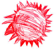 Sun star red childish drawing art isolated on white. Background royalty free illustration