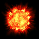 Sun Star Solar Flare Astronomy Fusion Hot Fire. Electronically rendered and realistic image of the sun burning with fiery intensity. You can almost feel the hot Stock Images