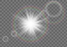 Sun Star Sparkle With Lens Flare Effect On Transparent Background. Stock Photo