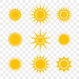 Sun or star vector cartoon yellow flat icons set