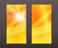Sun star vertical banner set back front presentation leaflet Stock Image