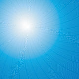 Sun or starburst over blue Stock Photo