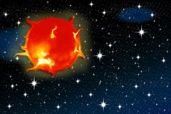 Sun on a starry sky Stock Images