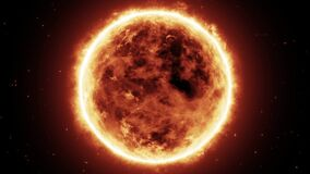 The Sun In Starry Space With Turbulence Surface Fire Heat And Dynamics Of The Atmosphere Full View Seamless Loop