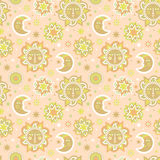 Sun and stars background seamless pattern stock photography