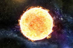 Sun Starscape 3D Illustration. Giant colorful sun with star scape  3D illustration Royalty Free Stock Image