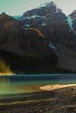 Sun starts to set at Lake Louise. Rocky mountains at Lake Louise, Alberta Canada Stock Photo