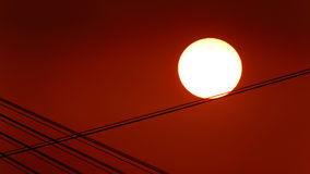 Sun on the steel wire Stock Images