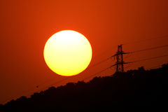Sun on the steel wire Royalty Free Stock Photos