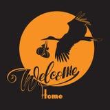 sun Storken med behandla som ett barn och ordvälkomnandehemmet Royaltyfri Fotografi