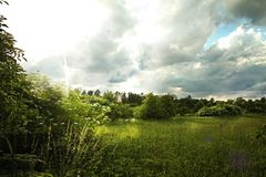Sun after a storm. Sun rays after a storm royalty free stock images