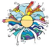 Sun-Strahlen. stockbild