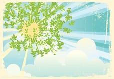 Sun-Strahlen in den grünen Blättern. Weinlese vektor abbildung