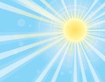 Sun-Strahlen im blauen Himmel. Vektorbild