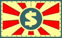 Sun strahlt Hintergrund mit Dollarikone aus Stockfotografie