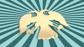 Sun strahlt Hintergrund mit russischem Wappen Adlerikone aus Stockfoto