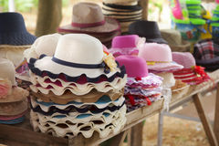 Sun straw hat in stall Stock Photo