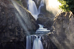 Sun Stream Through White River Falls Gorge stock image