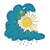 Sun struggling with the black cloud Royalty Free Stock Photo