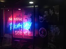 Sun Studio. A neon sign stating Memphis Recording Studio with pictures of Sam Phillips inside the legendary rock n roll recording studio in Memphis, Tennessee Royalty Free Stock Photo