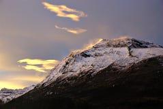 Sun su una montagna Fotografia Stock