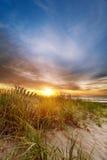 Sun sull'orizzonte alla spiaggia Immagini Stock