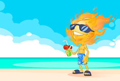 Sun Summer Boy Fire Head On Beach With Cocktail Cartoon Character. Vector Illustration Stock Photography