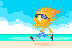 Sun Summer Boy Fire Head Running On Beach Cartoon Character. Vector Illustration Royalty Free Stock Images