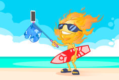 Sun Summer Boy Fire Head Taking Selfie Smart Phone Stick Hold Surfboard On Beach. Vector Illustration Royalty Free Stock Photography