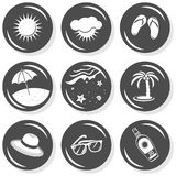 Sun summer holidays gray button set Royalty Free Stock Photos