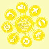 Sun and summer icons. Set of elements Stock Images