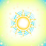 Sun in summer sky. Summer background with a summer sun burst with lens flare. Vector illustration Royalty Free Stock Photos