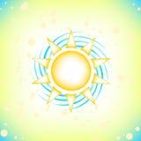 Sun in summer sky. Summer background with a summer sun burst with lens flare. Vector illustration stock illustration