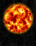 Sun and sun bursts. An image of the fiery glowing sun with sun bursts on its surface against a black background royalty free illustration