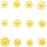 Sun, Sun collection, 3D, logo. Sun logo, Sun collection, 3D  collection Royalty Free Stock Images