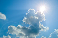 Sun, Sunbeam, Cloud and Blue Sky. Background and Texture. Stock Photography