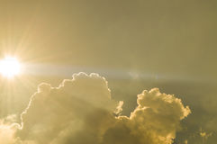 Sun, Sunbeam, Cloud and Sky. Background and Texture. Stock Images