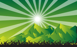 Sun And Sunbeam Over The Mountains. Vector illustration of the sun and sunbeam over the mountains in green color design Stock Photo