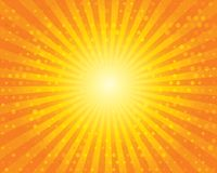 Sun Sunburst Pattern with circles. Orange sky. Stock Image
