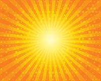 Sun Sunburst Pattern with squares. Orange sky. Stock Image