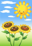 Sun and sunflowers. Vector illustration Royalty Free Stock Image