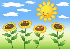 Sun and sunflowers. Vector illustration Stock Images