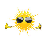 Sun with sunglass cartoon art vector Royalty Free Stock Photos