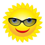 Sun with sunglasses. Vector illustration of cool cartoon happy summer sun in sunglasses Stock Photo