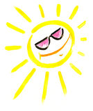 Sun with sunglasses Stock Image