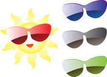 Sun with sunglasses Royalty Free Stock Images